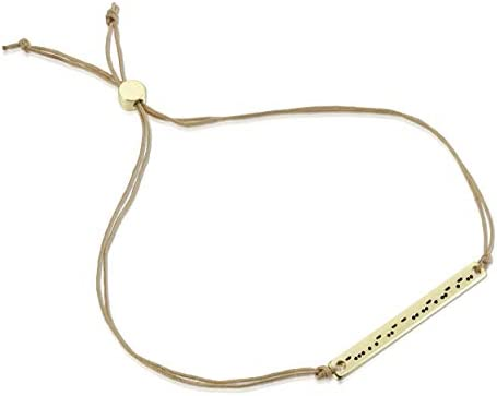 Friendship Bracelet Gift for Her Lucky Feather Morse Code Bracelets for Women and Girls 14K Gold Dipped Bar with Secret Message Engraved on Adjustable 7-8 Cord