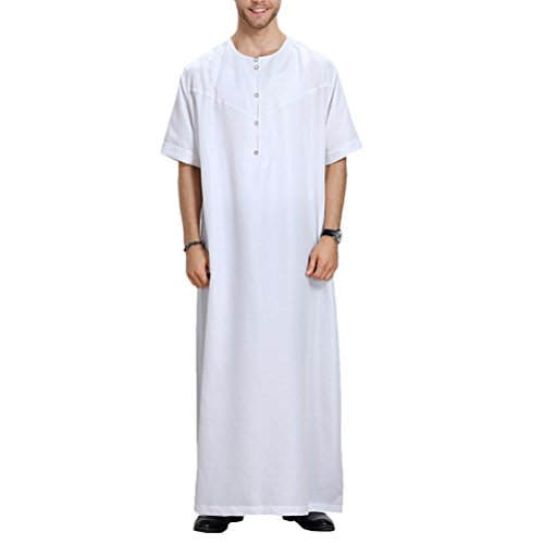 Zhuhaitf Mens Muslim Thobe Short Sleeve Button Arabic Arab Dress Robe Clothing