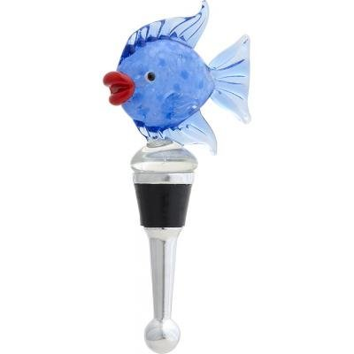 LS Arts Blue Fish Glass Wine Bottle Stopper