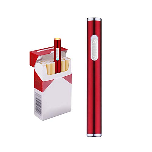 - Usb Electric Cigarette Lighter Mini Protable Rechargeable Windproof Flameless No Gas Lighter (Red)