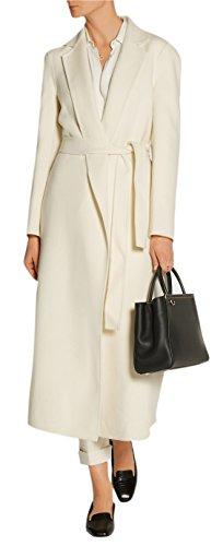 GESELLIE Women's Classic White Lapel Overcoat Full-Length Wool Blend Coat With Belt (Womens Full Length Overcoat)