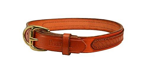Perri's Lg Chestnut/Brown Leather Overlay Dog Collar
