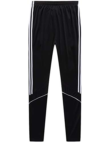 Pants Soccer Training (GEEK LIGHTING Men's Active Soccer Training Pants Casual Gym Jogger Sweatpants with Pockets & Zipper Legs White)