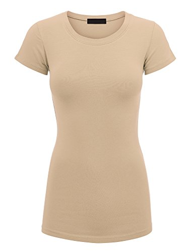 Made By Johnny WT1548 Womens Basic Fitted Short Sleeve Round Neck T Shirt S Khaki