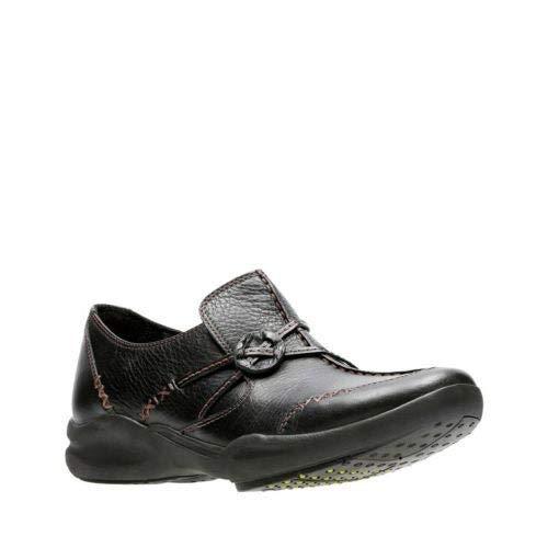 CLARKS Women's Wave.Run, Black Leather, 8 D - Wide