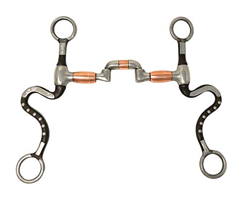 Low Port Show Bit - AJ Tack Wholesale Calvary Swivel Cheeks Horse Bit Hinged Low Port Correction Mouth Copper Rollers