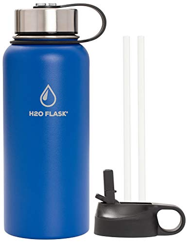 Water Aluminum (H2O Flask Insulated Water Bottle, 32oz & 40oz Leak-Proof with 2 Lids & 2 Straws, Double Wall Vacuum Insulated Stainless Steel for 12 Hour Hot & 24 Hour Cold Drinks - H2O Hydro Powered - Blue 32oz)