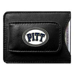 Pittsburgh Panthers Black Leather Money Clip with Cardholder