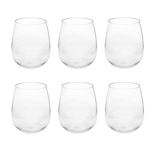 First Design Global DRS0219 Clear Acrylic Stemless Wine Glasses, Decorative Drinkware for Weddings, Birthday Parties, and Everyday Use, 17 oz, Set of 6,