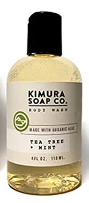 Organic All Natural Moisturizing Body Wash Soap. American Made With Tea Tree Mint And Essential Oils. Gluten Free, Vegan, Cruelty Free, Anti-Fungal, Anti-Bacterial Travel Soap For Active Men And Women