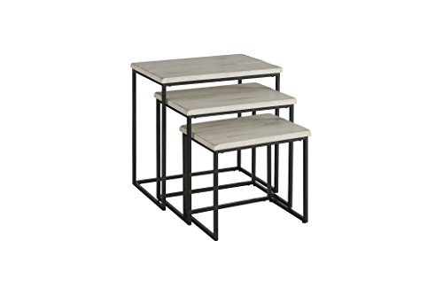 Martin Svensson Home 890553 Rustic Collection Solid Wood & Metal 3 Piece Nesting Table, Antique White