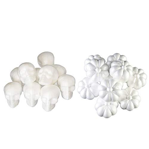 Prettyia 20 Pieces Halloween Skull Pumpkin Polystyrene Styrofoam
