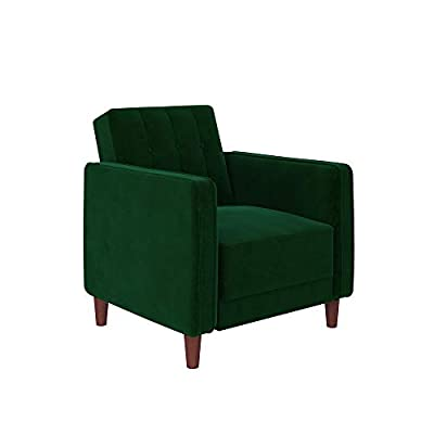 DHP Ivana Accent Chair, Green Velvet, Green Velvet - Vintage design with wide-track arms and vertical stitching with button-tufted details on the backrest Accent piece ideal for small living spaces. Perfect to complement your living room, home office or bedroom Made with a sturdy wood frame upholstered in soft velvet and solid wood legs. Pair with the rest of the collection for the full look - living-room-furniture, living-room, accent-chairs - 31uhGZrsSqL. SS400  -