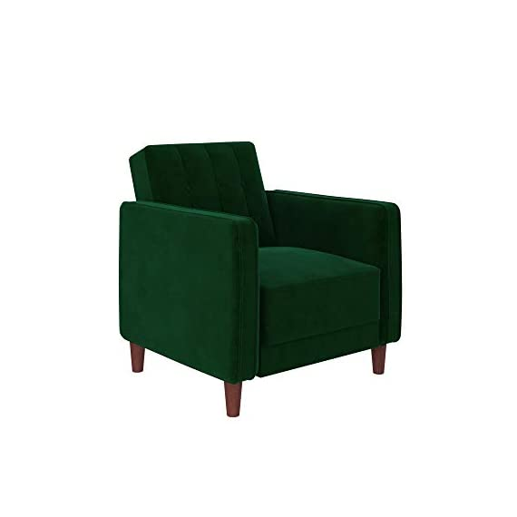 DHP DZ13388 Ivana Accent Chair, Green Velvet, Green Velvet - Vintage design with wide-track arms and vertical stitching with button-tufted details on the backrest Accent piece ideal for small living spaces. Perfect to complement your living room, home office or bedroom Made with a sturdy wood frame upholstered in soft velvet and solid wood legs. Pair with the rest of the collection for the full look - living-room-furniture, living-room, accent-chairs - 31uhGZrsSqL. SS570  -