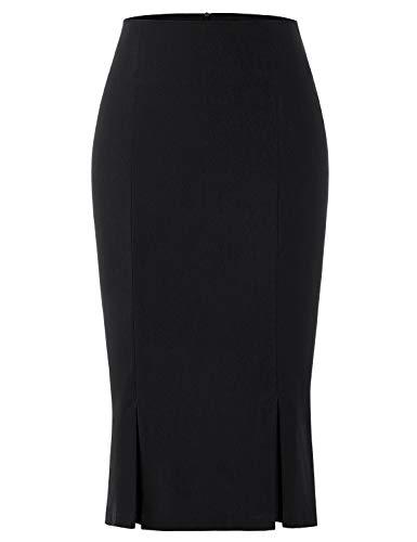 MUXXN Womnes Vintage Solid Color Knit Bandage Bodycon Ladies Skirt (Black S)