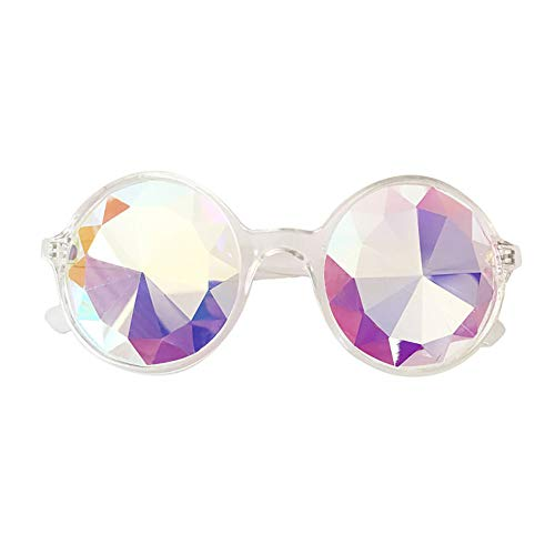 Rave EDM Kaleidoscope Sunglasses Ultimate Diffracted Lens Festival Holiday Party Glasses Light Shows Rainbow Prism Glasses (Clear)