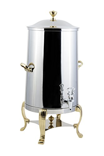 Bon Chef 40001 Stainless Steel Aurora Insulated Coffee Urn, 1-1/2 gal Capacity, Brass Accents (Stainless Coffee Urn Insulated Steel)