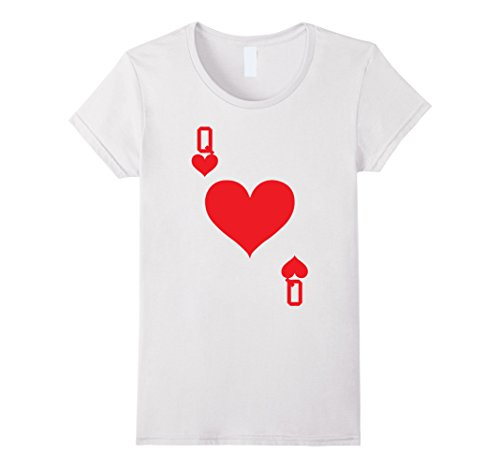 Playing Card Costume Ideas (Womens Queen of Hearts - Playing Card Halloween Costume T-Shirt Small White)