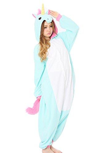 DATO Tier Onesies Cosplay Kostüme Schlafanzug Erwachsene Pyjamas Kostüm Nachtwäsche Jumpsuit Blau Einhorn