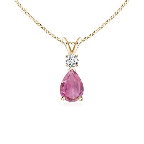 (Pink Tourmaline Teardrop Pendant with Diamond in 14K Yellow Gold (7x5mm Pink Tourmaline))