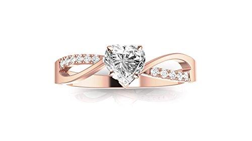 1.09 Ct Heart (1.09 Carat 14K Rose Gold Elegant Twisting Split Shank Heart Shape Diamond Engagement Ring (I-J Color SI1 Clarity Center Stones))