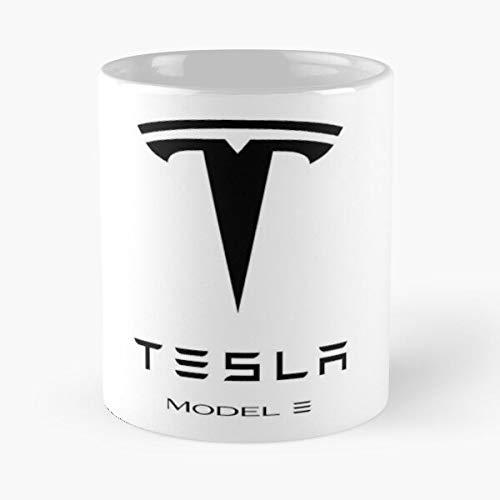 Te-sla Model 3 Logo Classic Mug Funny Sophisticated Design Great Gifts White-situen. 11 Oz Coffee