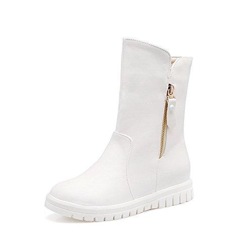 BalaMasa Womens Mid-Calf Round-Toe VelvetLining Zip Urethane Boots ABL10493 White IIfB15