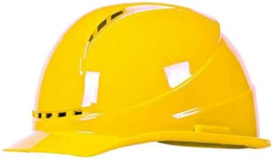 LCSHAN ABS高強度安全ヘルメットサイト通気性エンジニアリングに対する耐性 (Color : Yellow)