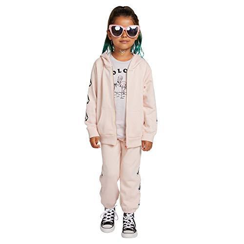 Volcom Womens Little Girls Zippety Hoooded Zip Up Sweatshirt, mellow rose, 5