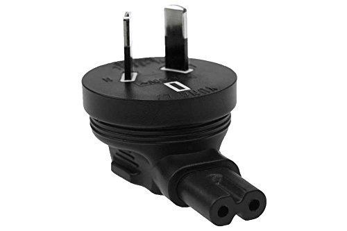 SF Cable, 2 Prong Right-Angle Plug Adapter, IEC 60320-C7 receptacle to Australia AS3112