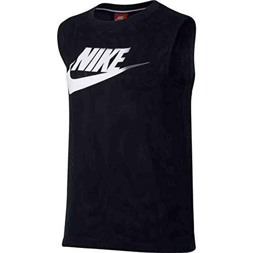 Nike Women's Sportswear Essential Muscle Tank Top Shirt Black White 868255 010 (xs)