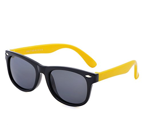 YANQIUYU TPEE Rubber Flexible Kids Toddler Polarized Wayfarer Sunglasses Age 3 -10,UV Protection (Black Frame/Yellow Temple, - Yellow And Black Sunglasses
