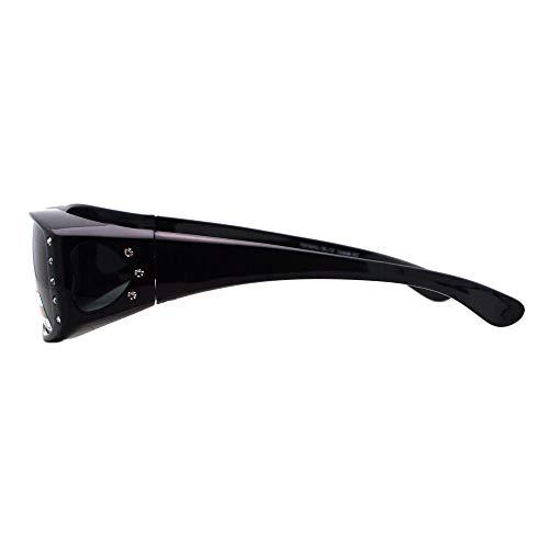 Womens Polarized Fit Over Glasses Sunglasses Rhinestone Rectangular Frame (black, 57) by JuicyOrange (Image #3)