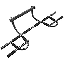 ProSource Multi-Grip Chin-Up/Pull-Up Bar, Heavy Duty Doorway Trainer for Home Gym (Renewed)