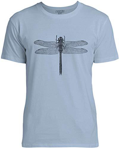 Austin Ink Apparel Womens Wild Dragonfly Unisex Cotton T-Shirt, Light Blue, XS