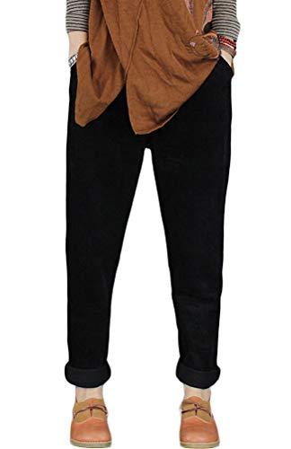 Cotton Corduroys Vintage (Minibee Women's Casual Corduroy Pants Comfy Pull on Elastic Waist Trousers Drawstring Cotton Pants Black S)