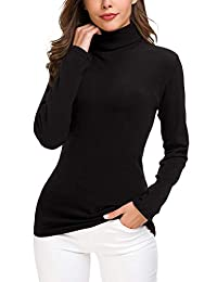 EXCHIC Women's Turtleneck Sweater Cable Knitted Solid Pullover Top