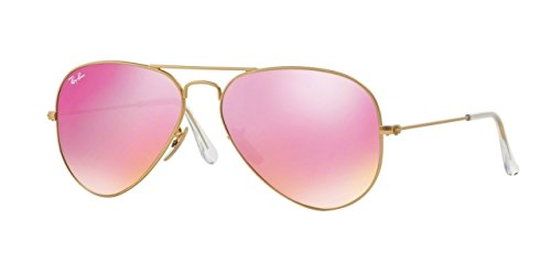 Ray-Ban Aviator Large Metal Sunglasses RB3025 112/4T-58 - Matte Gold Frame, Green Mirror - Ban Pink Aviator Ray
