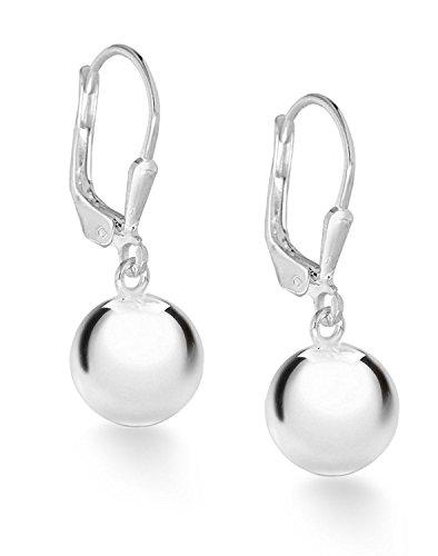 Sterling Silver Ball Leverback Drop Earrings (10.0mm)