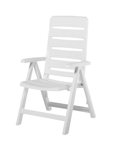 Kettler Nizza Resin Folding Chair White (Matte Finish) (Patio Furniture Resin Plastic)