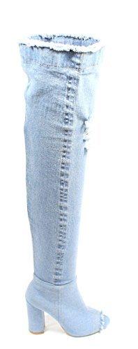 Talloni Urbani Pattini Delle Donne Una-01s Sopra La Coscia Ginocchio Jeans Stivali Tacco Senape
