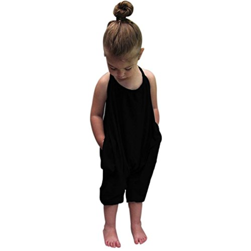 TIFENNY Clearance Baby Girls Straps Rompers Jumpsuits Piece Pants Clothing,Black,18M