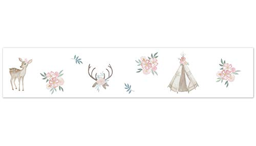 Sweet Jojo Designs Blush Pink, Mint Green and White Boho Wallpaper Wall Border for Woodland Deer Floral ()