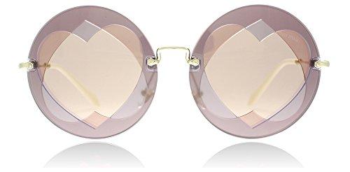 Miu Miu Women's 0MU 01SS Lilac/Pink/Pink Gold Mirror One - Miu Miu Sunglasses Round