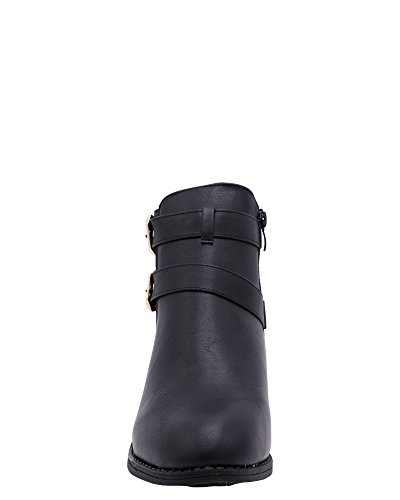 Belladia - Stivaletto Donna 2 Fibbie In Oro, Nero, 8.5