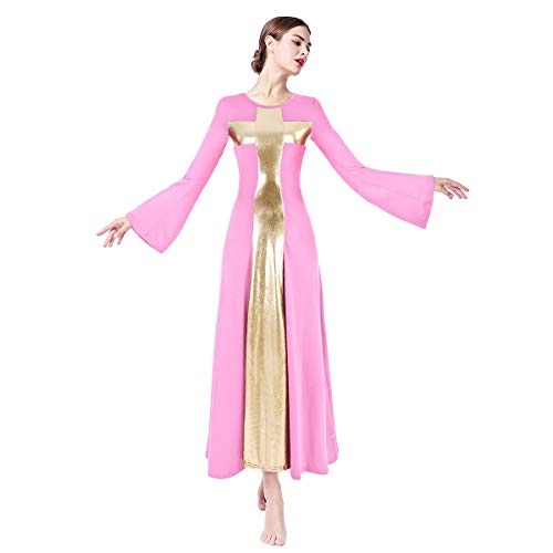 Women Adult Bell Long Sleeves Liturgical Praise Lyrical Dance Dress Gold Cross Loose Fit Full Length Maxi Swing Gown Pleated Ruffle Tunic Circle Skirts Christian Worship Costume Praisewear Pink -
