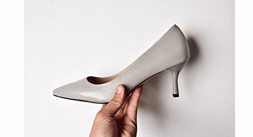 Zapatos de con Piel OL Temperamento DHG de Verano Zapatos Zapatos Oveja con de de Tac Verano Punta UUF8qwYZ