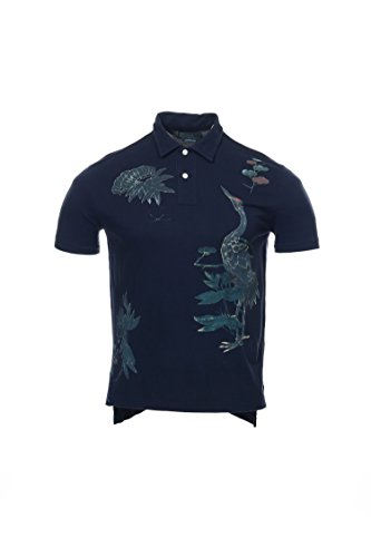 Polo Ralph Lauren Men's Custom-Fit Graphic Polo Shirt, X-Large, Heritage Navy