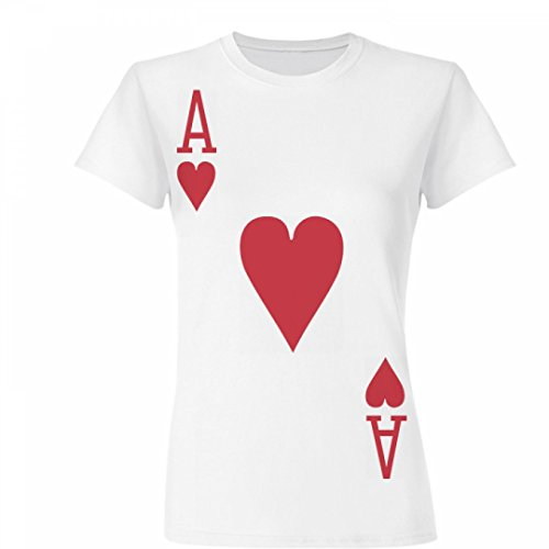 [Ace of Hearts Costume: Junior Fit Basic Fine Jersey T-Shirt] (Cute Couples Halloween Outfits)