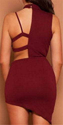 Irregolare Abiti Club Vino Backless Jaycargogo Rosso Moda Bodycon Tagliato Femminile Del 7wOXa